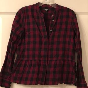 Cute cropped long sleeve plaid Madewell top